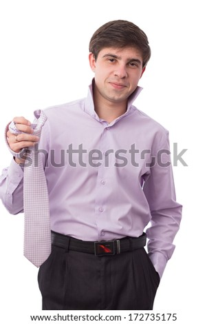 man in shirt and tie holding