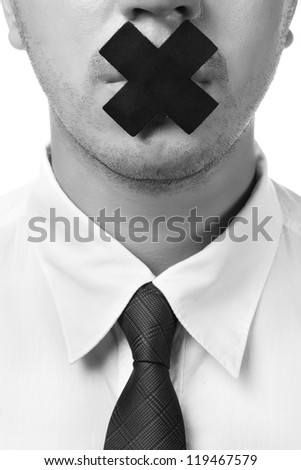 man in shirt and tie with closed mouth isolated on white - stock photo