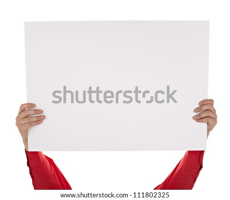man in shirt holding a blank sign on white background with clipping path - stock photo