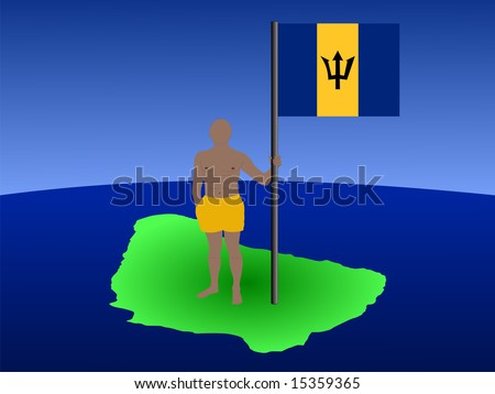 man in shorts standing on map of Barbados with flag JPG