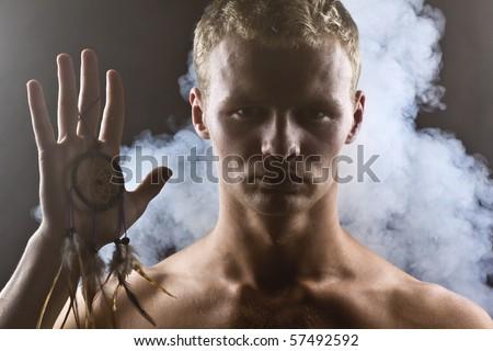 man in smoke - stock photo