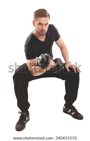 Man in sport style trains arms