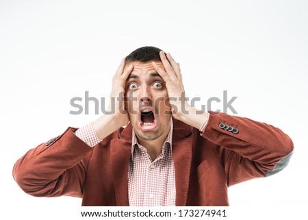 Man in stress - stock photo