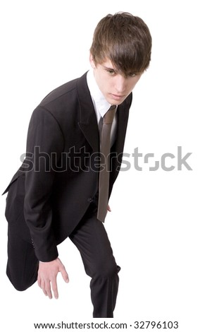 Man in suit in pose, shot on white background. - stock photo