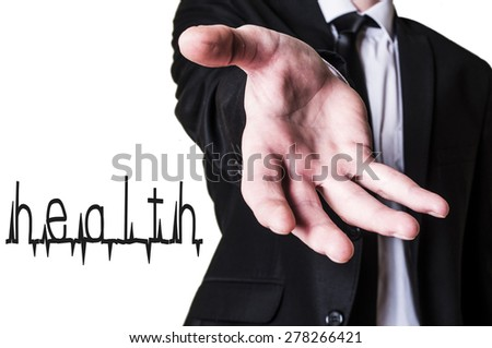 Man in suit offers a helping hand with health - stock photo