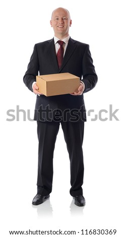 man in suit presenting a cardboard box parcel isolated on white