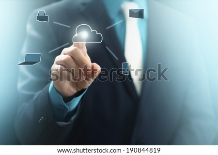 Man in Suit Pressing Cloud Service Icons