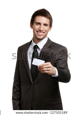 Man in suit showing his empty business card with copy space to write your own text, isolated on white - stock photo