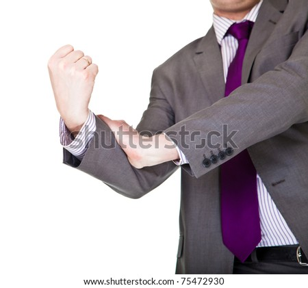 Man in suit showing middle finger isolated on white