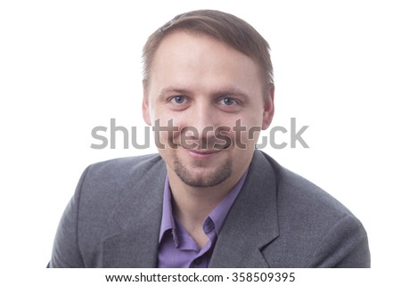 Man in suit smiling, isolated on white