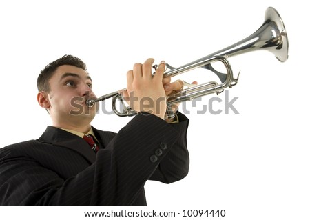 Man in suit standing and trumpet melody. Low angle view. White background.