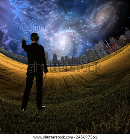 Man in suit touches sky creating ripples with city - stock photo