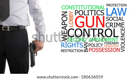 Man in suit with a gun in his hand next to gun control word cloud - stock photo