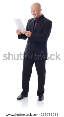 Man in suit with a letter receiving good result or news isolated on white - stock photo