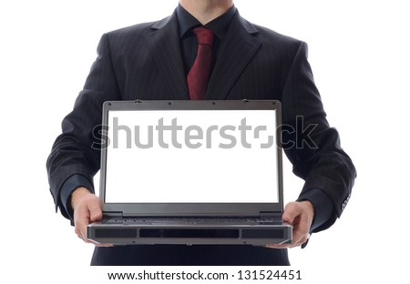 man in suit with laptop isolated on white - stock photo