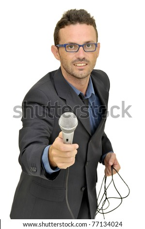 Man in suit with microphone