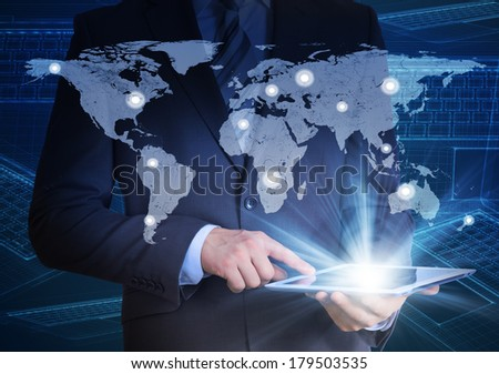 Man in suit, world map and contacts. The concept of global contacts