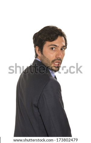 man in suite, turning 1 surprised - stock photo