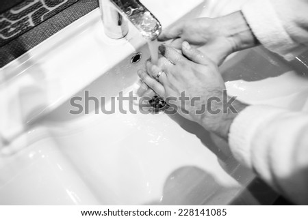 man in the bathroom - stock photo