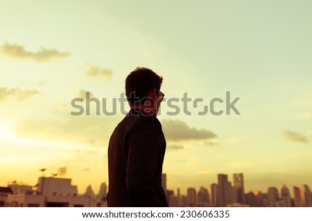 Man in the city - stock photo