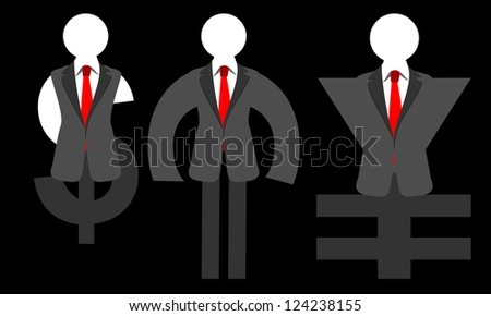 man in the form of a dollar, euro, yen, - stock photo