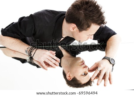 man in the mirror - stock photo