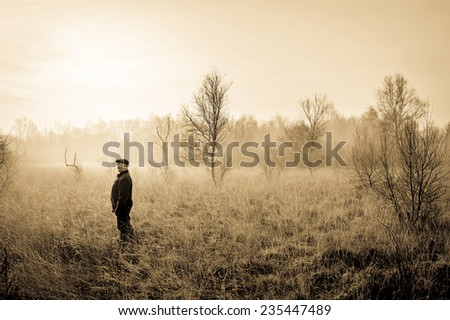 Man in the nature - stock photo