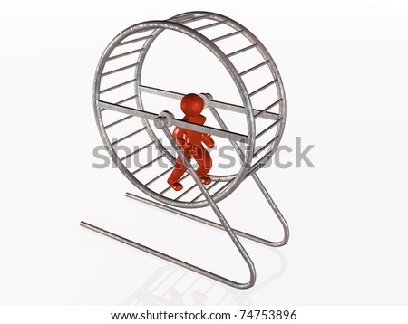 Man in the squirrel cage on white background. - stock photo