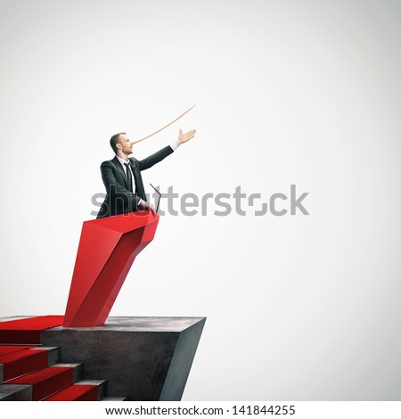 Man in the suit with long nose - stock photo