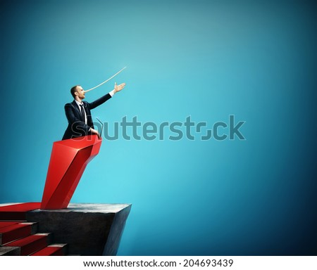 Man in the suit with long nose. Concept of liar. Politician.  - stock photo