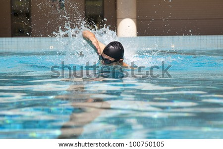 man in the Swimming pool with free style
