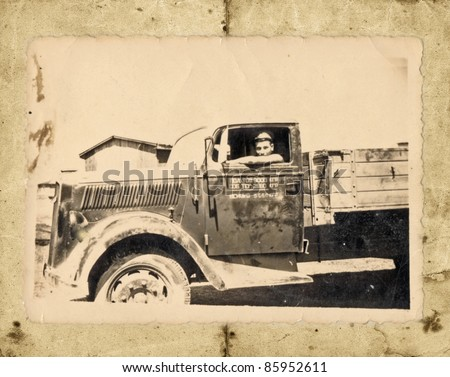 man in the truck, picture scan - about 1945 - stock photo
