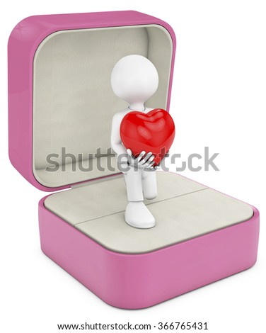 man in to a open box ring making a marriage proposal, whith a big heart in your heands.  - stock photo