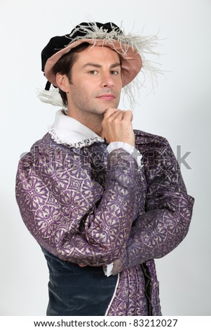 Man in Tudor Fancy Dress Costume - stock photo