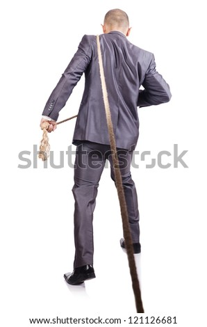 Man in tug of war concept on white - stock photo