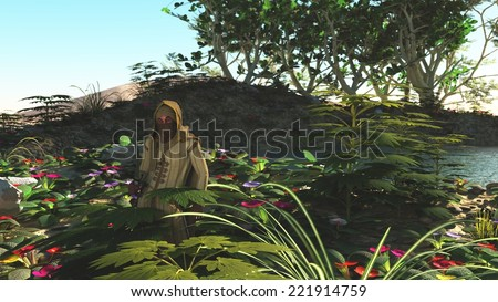 Man in turban and desert robes in lush vegetation around water in oasis with desert dunes in the background