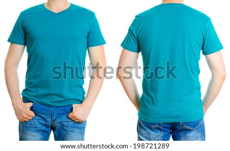 Man in turquoise t-shirt. Isolated on white background. - stock photo