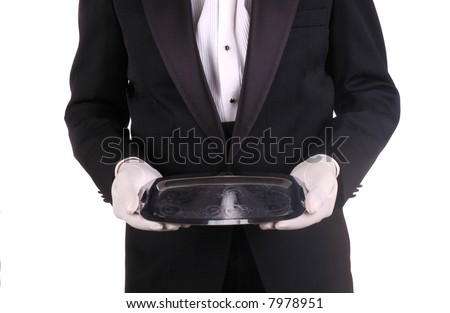Man in Tuxedo and Formal Gloves holding Silver Tray isolated over white - stock photo