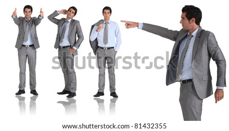 man in two-piece grey suit striking different poses - stock photo