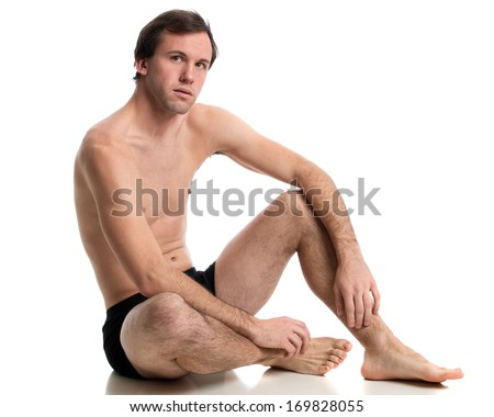 Man in underwear. Studio shot over white. - stock photo