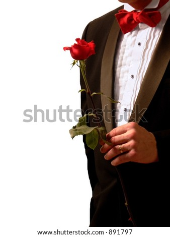 Man in vintage 1950s tuxedo with rose