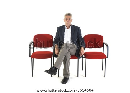 man in waitingroom from hospital or doctor - stock photo
