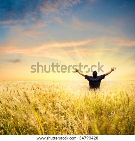 man in wheat field joying sunset - stock photo