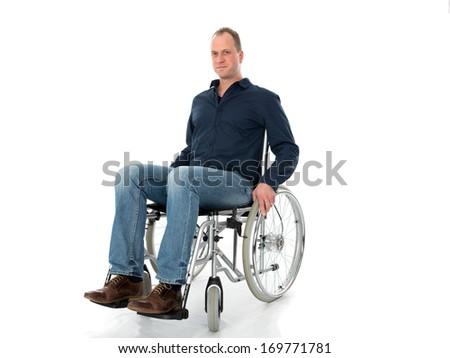 man in wheelchair - stock photo