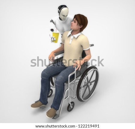 Man in wheelchair and Humanoid