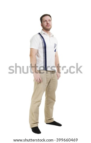 Man in white polo. Isolated against white background.