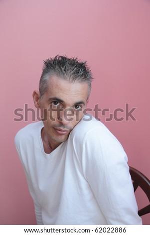 man in white shirt expressive - stock photo