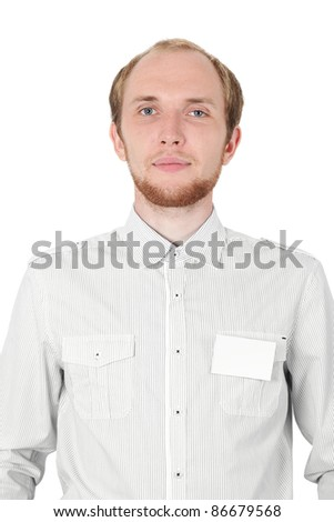 man in white shirt with badge card isolated