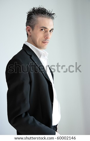 man in white shirt with smiling expression... - stock photo