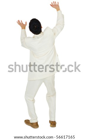 Man in white suit with his hands locked on the threats are top, isolated on a white background - stock photo